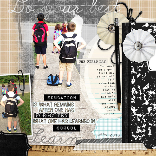 See? A new digital scrapbooking layout I released today made with my new product. Technology baby.