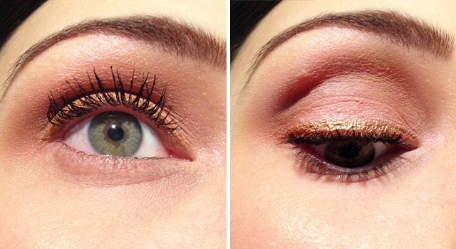 Gold liner with peachy eye | fridaylovesong.net