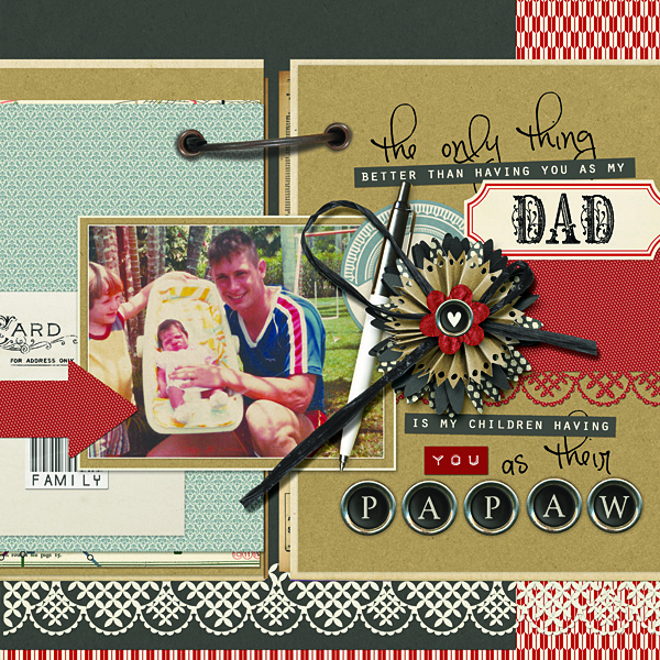 #SmileWithDad digital scrapbooking layout by Amanda Fraijo-Tobin | fridaylovesong.net