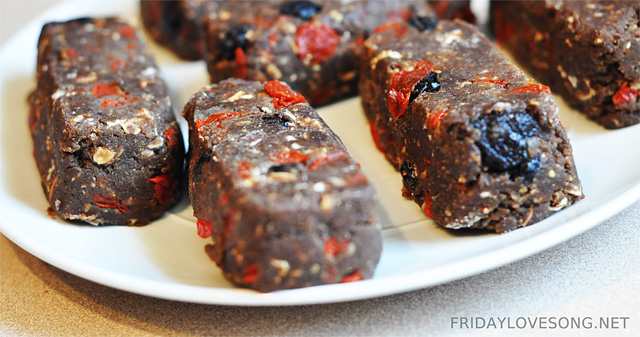 Dark Chocolate Antioxidant No Bake Protein Bars (fridaylovesong.net)