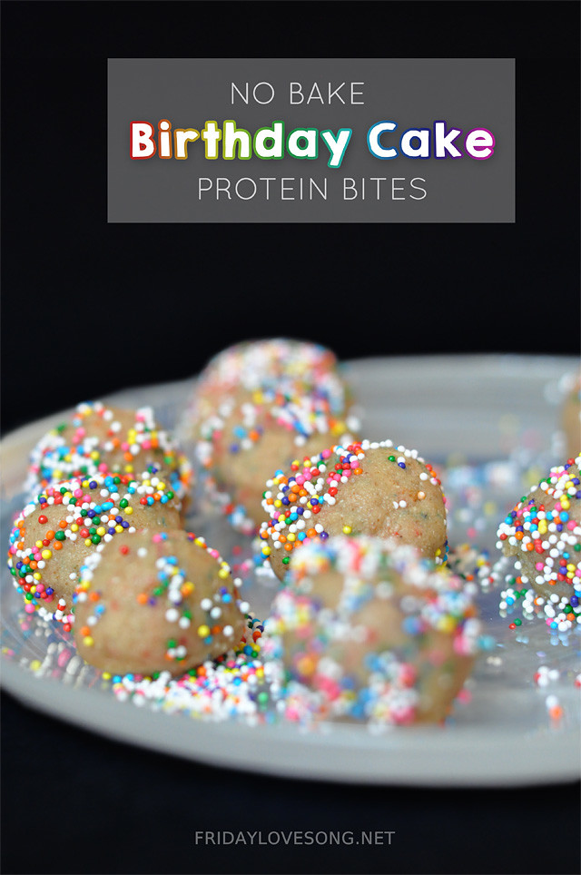 No Bake Confetti Cake Birthday Cake #protein balls. Save 25% off your www.cellucor.com order using code: FLS20 at checkout | fridaylovesong.net #cellucor #snack #healthy