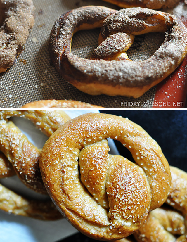 Cinnamon Sugar and Salted Homemade Pretzels | fridaylovesong.net #recipe
